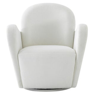 Pasargad Home Elena Collection Modern Ivory Swivel Chair For Sale
