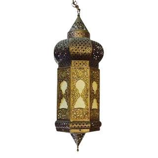 1960s Vintage Pierced Brass Moroccan Pendant Lantern For Sale