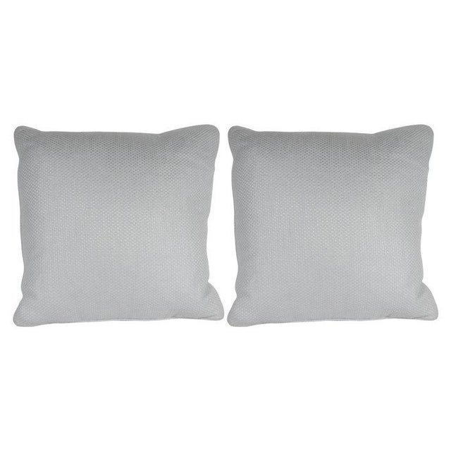 Pair of Square Pillows in Patterned White Gold Italian Handwoven Silk For Sale In New York - Image 6 of 6