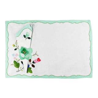 Green Floral Fabric Placemats and Napkins - Set of 6 For Sale