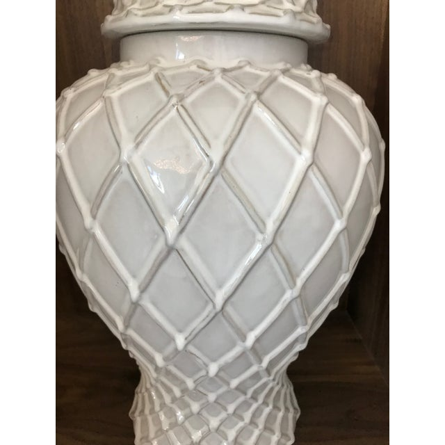 Exquisite Blanc De Chine Lidded Vase With Lattice Design, Italy For Sale - Image 9 of 12