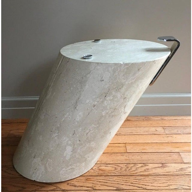 1970s Italian Marble and Oval Glass Cantilevered Coffee Table For Sale - Image 5 of 12