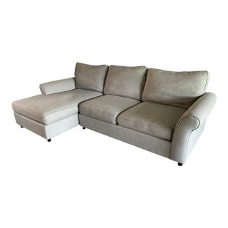 Pottery Barn Comfort Roll Arm Upholstered Chaise Sectional For Sale