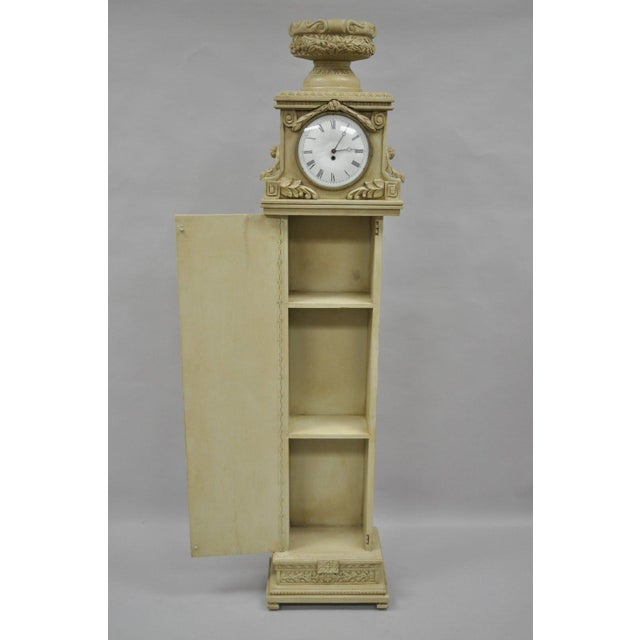 Hollywood Regency French Regency Empire Style Cream Painted Grandfather Case Standing Clock For Sale - Image 3 of 13