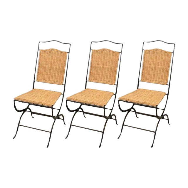 Pottery Barn Metal & Wicker Patio Chairs - S/3 - Image 1 of 8