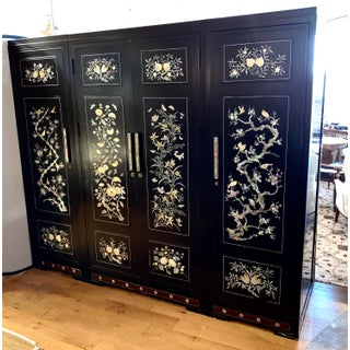 Chinese Black Lacquer Mother of Pearl Armoire Wardrobe Closet Preview