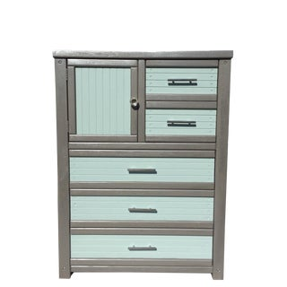 1990s Shabby Chic Stanley Furniture Tallboy Chest of Drawers For Sale