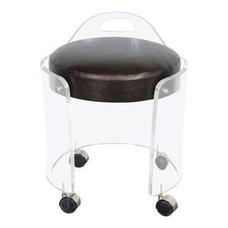 Mid-Century Modernist Round Lucite Stool with Faux Bronze Shagreen Upholstery For Sale