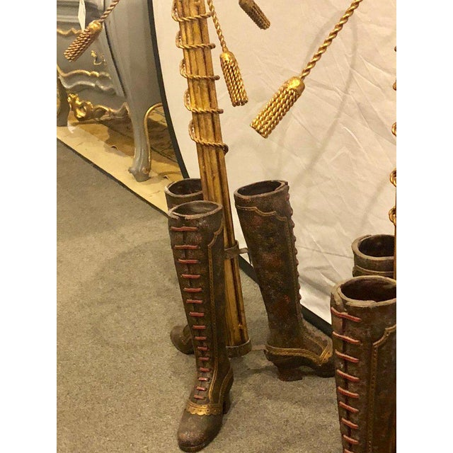 A Pair of Umbrella Stands Each Depicting Painted Boots on Bronze From Base For Sale - Image 4 of 12