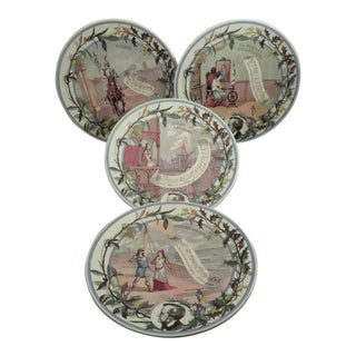 19th Century Sarreguemines Richard Wilhelm Wagner Opera Porcelain Plates - Set of 4