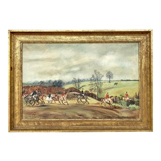 """1970s Vintage English """"The Hunt"""" Oil on Canvas Painting For Sale"""