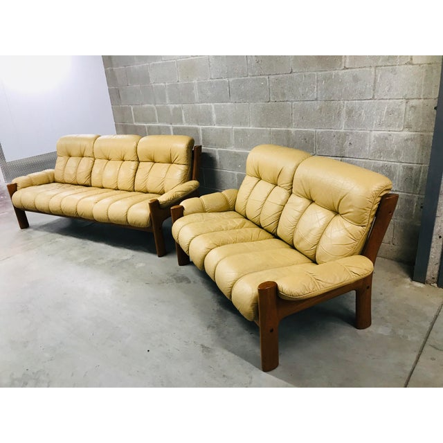Contemporary 1970s Vintage Ekornes Stressless Montana Solid Teak Loveseat and Sofa - 2 Pieces For Sale - Image 3 of 13