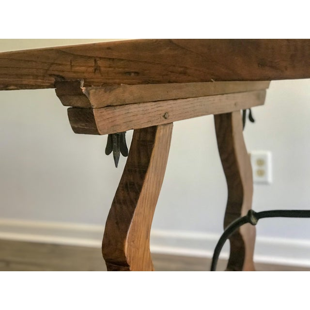 19th Century Spanish Trestle Table Desk With Iron Stretcher For Sale - Image 10 of 13