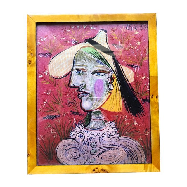 Picasso Figural Portrait Print in Pink and Framed in Burl Wood Frame For Sale - Image 6 of 6
