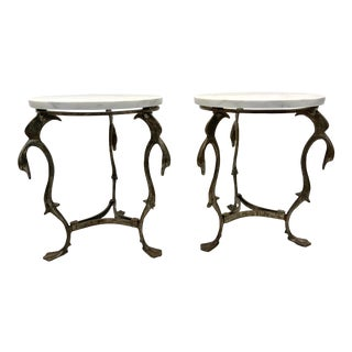 C. 1920's Antique Calcutta Marble Top Side Tables - a Pair For Sale