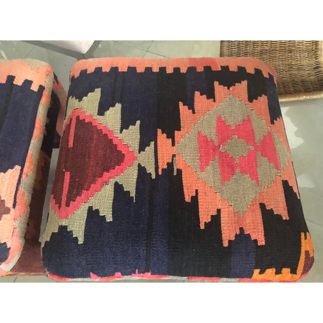 Vintage Boho Kilim Rug Upholstered Benches Stools Ottomans -A Pair For Sale - Image 4 of 13