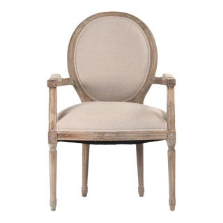 Everest Medallion Arm Chair in Beige For Sale