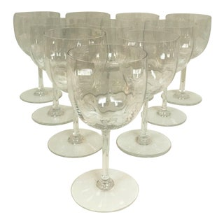 Baccarat Montaigne Optic Crystal Wine Glasses Goblets- Set of 10 For Sale
