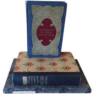 20th C. Decorative Red & Blue Books - Set of 3 For Sale