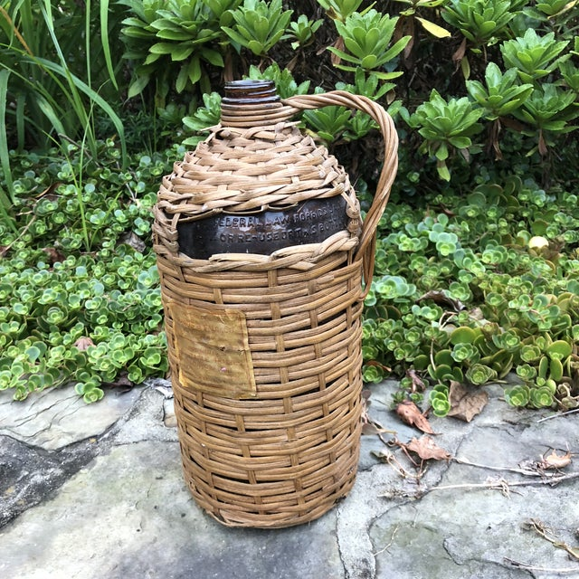 1920s Boho Chic Demijohn Wrapped Rum Jug For Sale - Image 4 of 10