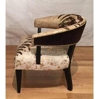 Stylish Designer Leather Barrel Chair With Exotic Zebra Stripe Preview