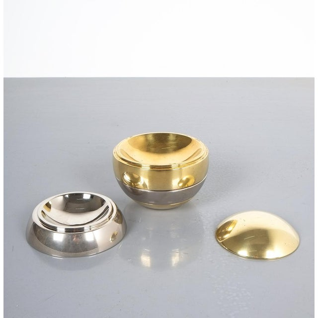 Tommaso Barbi Tommaso Barbi Stacked Brass and Chrome Bowls For Sale - Image 4 of 6