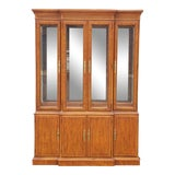Image of 1990s Drexel Heritage Yorkshire Collection Yew Wood Dining Room China Cabinet Breakfront For Sale