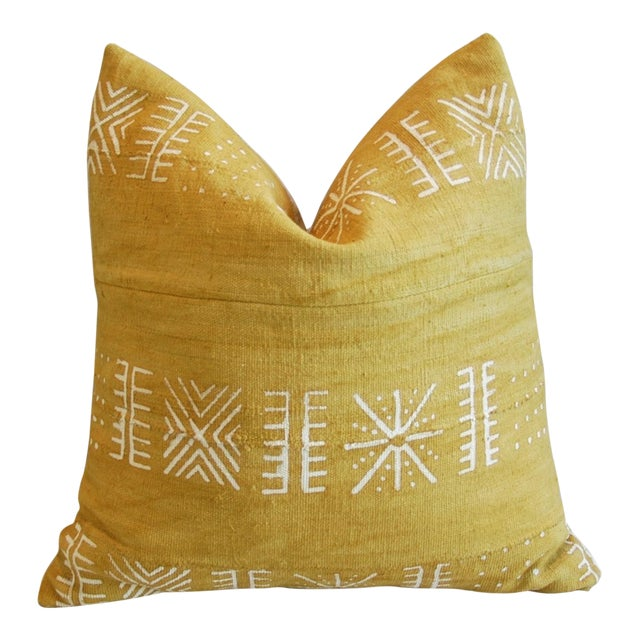 Handwoven Gold & Cream Tribal Down & Feather Pillow - Image 1 of 6
