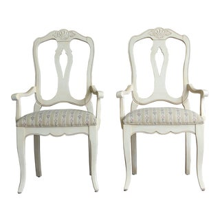 Ethan Allen Country French Splatback Dining Arm Chairs- a Pair For Sale