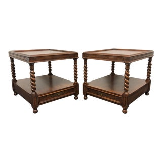 Hekman French Country Oak End Side Tables With Barley Twist - Pair For Sale