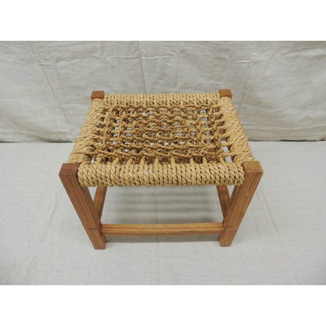 Vintage Rectangular Shaker-style Foot Stool with Seagrass Woven Seat Stool has 4 wood squared legs with 4 square...
