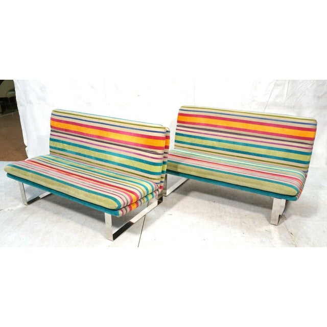 Blue Set of 2 Kho Llang Lee for Artifort Awning Striped Chenille Sofas For Sale - Image 8 of 9