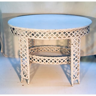 Antique Country Heywood Brothers Wakefield Company Oval Wicker Table Preview