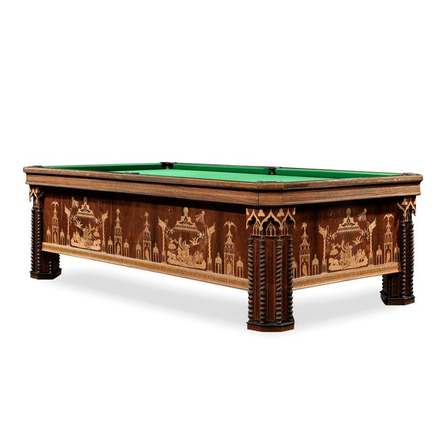 Exceptionally rare and beautifully constructed, this French billiards table is amongst the most remarkable and exquisite...