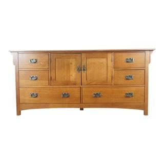 Arts & Crafts Style Oak Dresser With Mirror Set