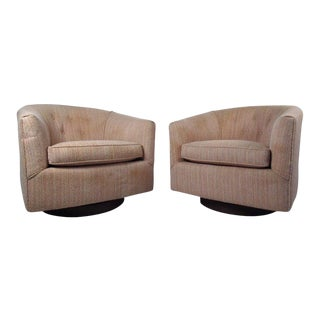 Midcentury Swivel Lounge Chairs After Milo Baughman For Sale