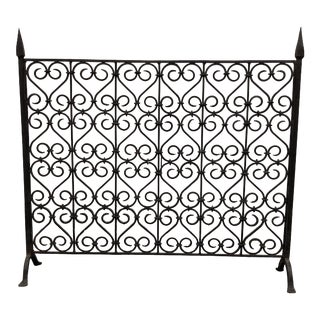 1990s Gothic Revival Iron Fireplace Screen