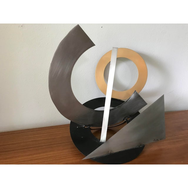 Post Modern Abstract Mixed Metal Sculpture For Sale - Image 4 of 6