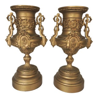 Neoclassical Spelter Ornamental Gold Urns - a Pair For Sale