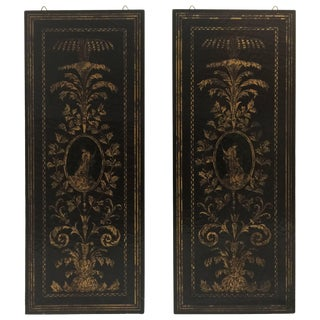 Pair of Italian Black Lacquer and Gilt Wall Screens For Sale