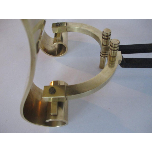 1950s 1950s Modern Decorative Brass Scroll Andirons - a Pair For Sale - Image 5 of 8