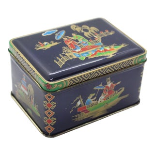 1950's Vintage Daher Chinoiserie English Mid-Century Blue, Gold, Red, Green Tin Box For Sale