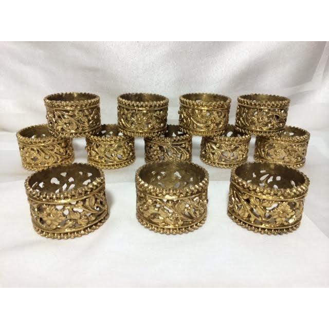 Vintage Brass Floral Filigree Napkin Rings - Set of 12 For Sale - Image 5 of 5