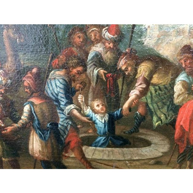 Oil on canvas, Dutch biblical painting. Second half of 18th Century, including frame of the same period L: 55,8 cm, H:...