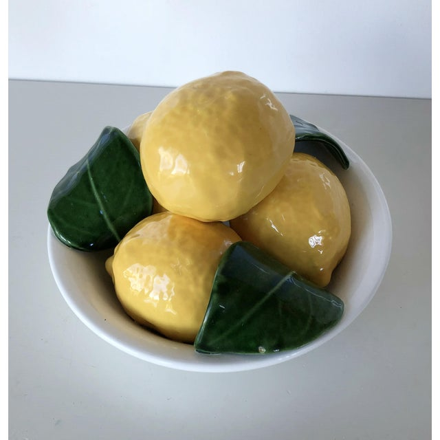 Vintage Trompe l'Oeil Bertinazzo Italy Ceramic Bowl of Lemons With Leaves For Sale - Image 6 of 12