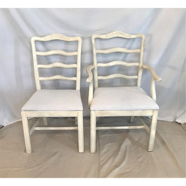 French Country 1920s Provençale Antique White Ladder Back Dining Chairs – Set of 8 For Sale - Image 3 of 9