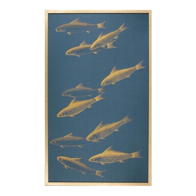 Japonisme Framed Vintage Gold Painting on Blue Silk Framed. For Sale