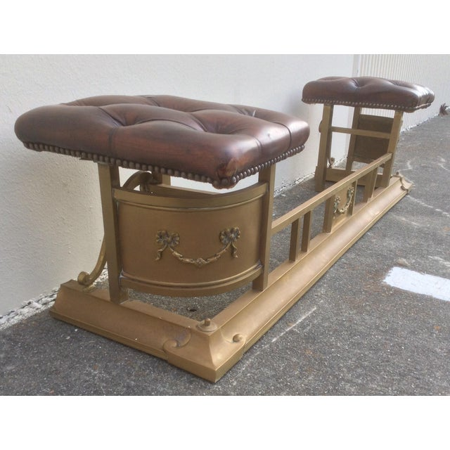 Aesthetic Movement Tufted Leather and Brass Edwardian Fireplace Fender For Sale - Image 3 of 8