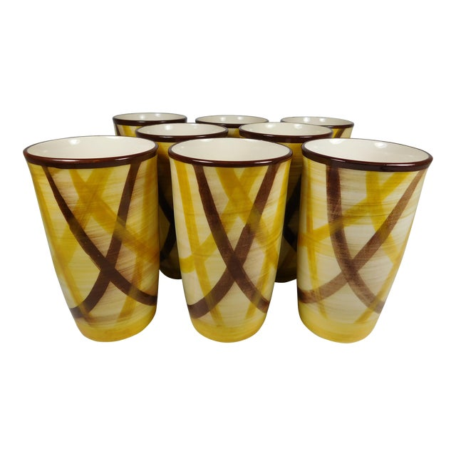 Vernonware Plaid Pottery Tumblers- Set of 8 For Sale