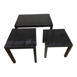 Vintage 1970's Black Lacquer Occasional Tables - Set of 3